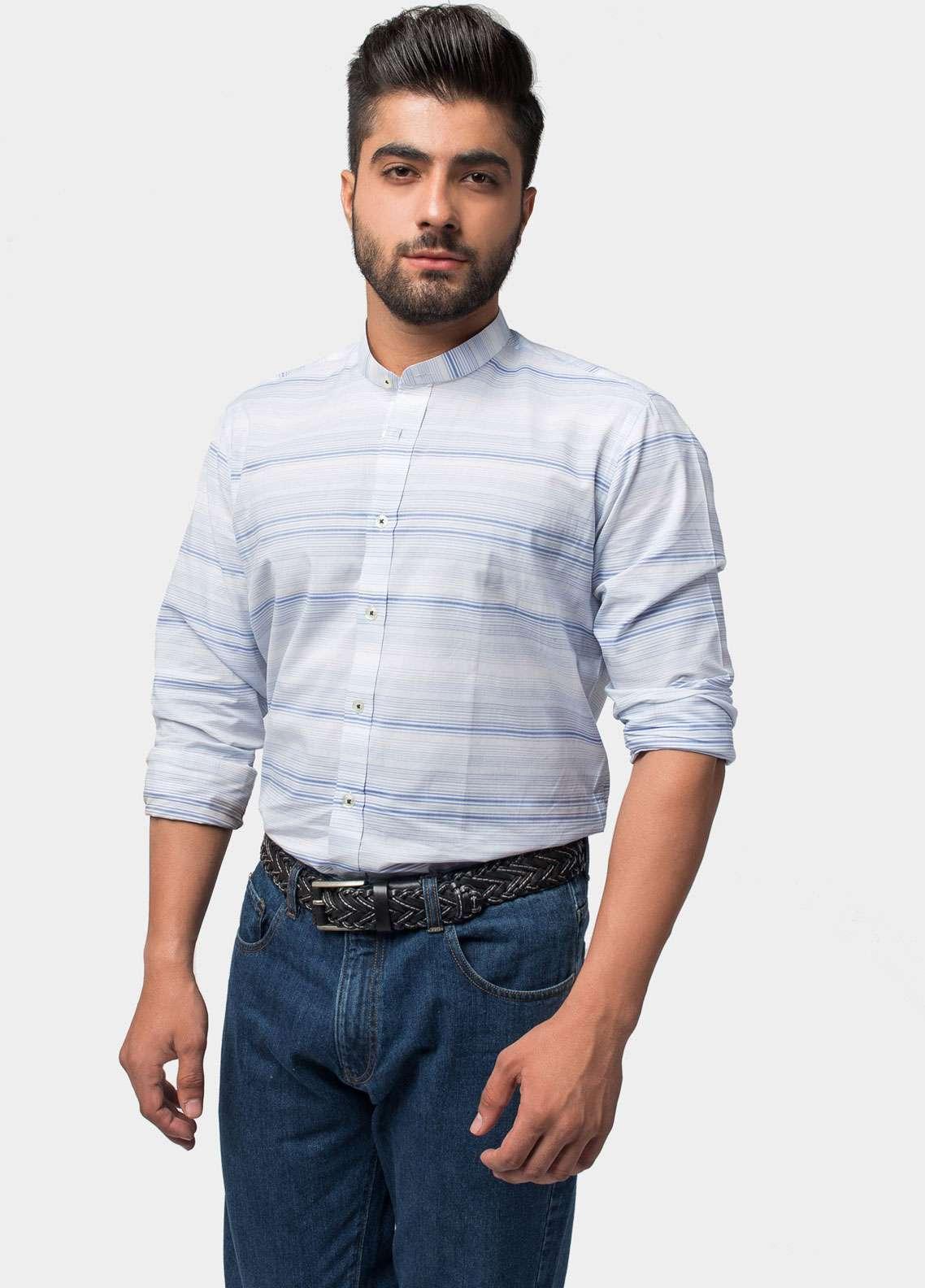 Brumano Cotton Formal Men Shirts - Blue BRM-539