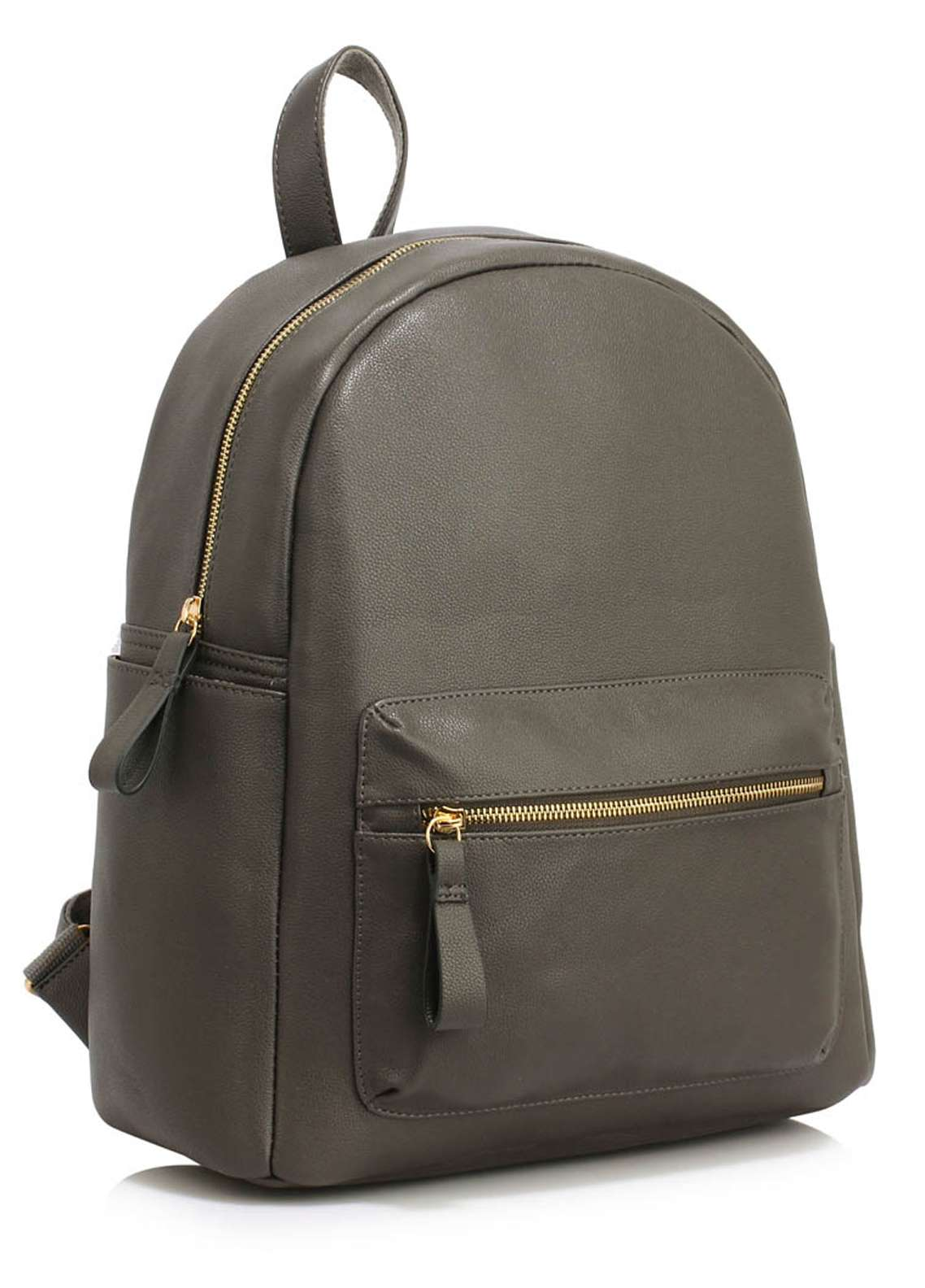 Leesun London Soft Faux Leather Backpack Bags  for Unisex  Grey with Plain Texture