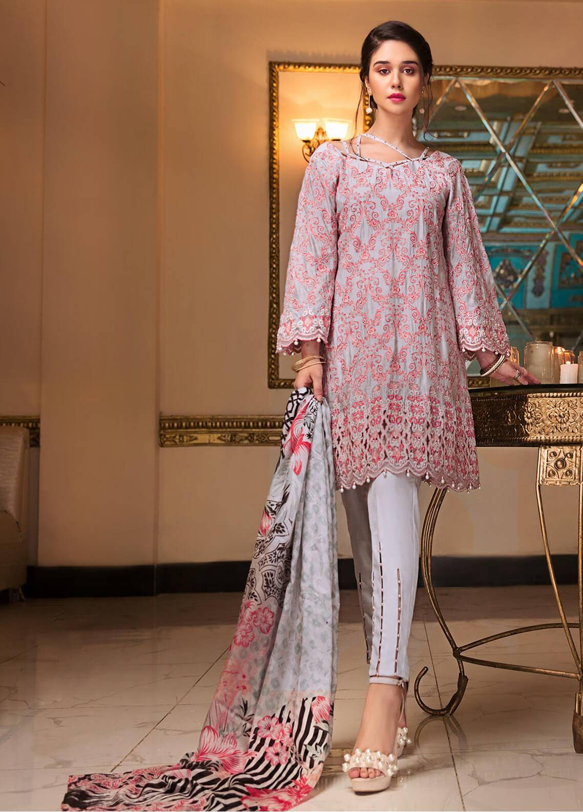 Edenrobe Embroidered Khaadi Net Unstitched 3 Piece Suit ED18-F2 19348 - Festive Collection