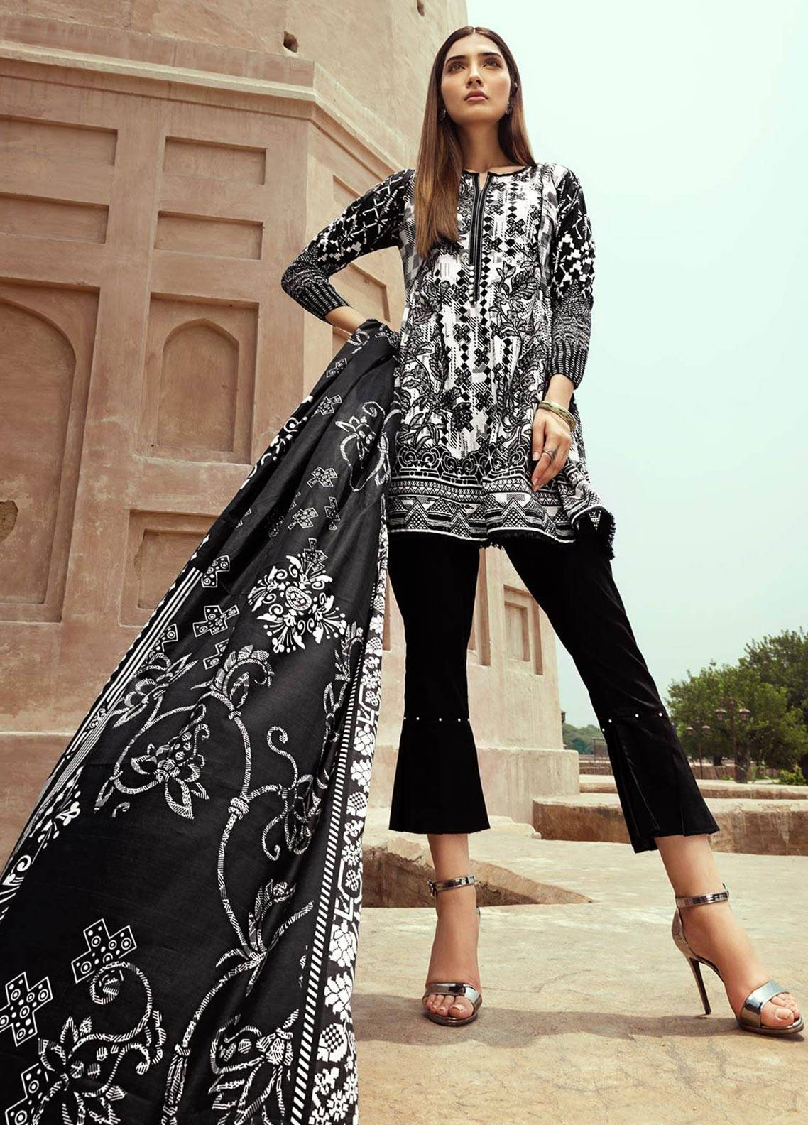 Edenrobe Printed Cambric Unstitched 2 Piece Suit 019391 - Black & White Collection