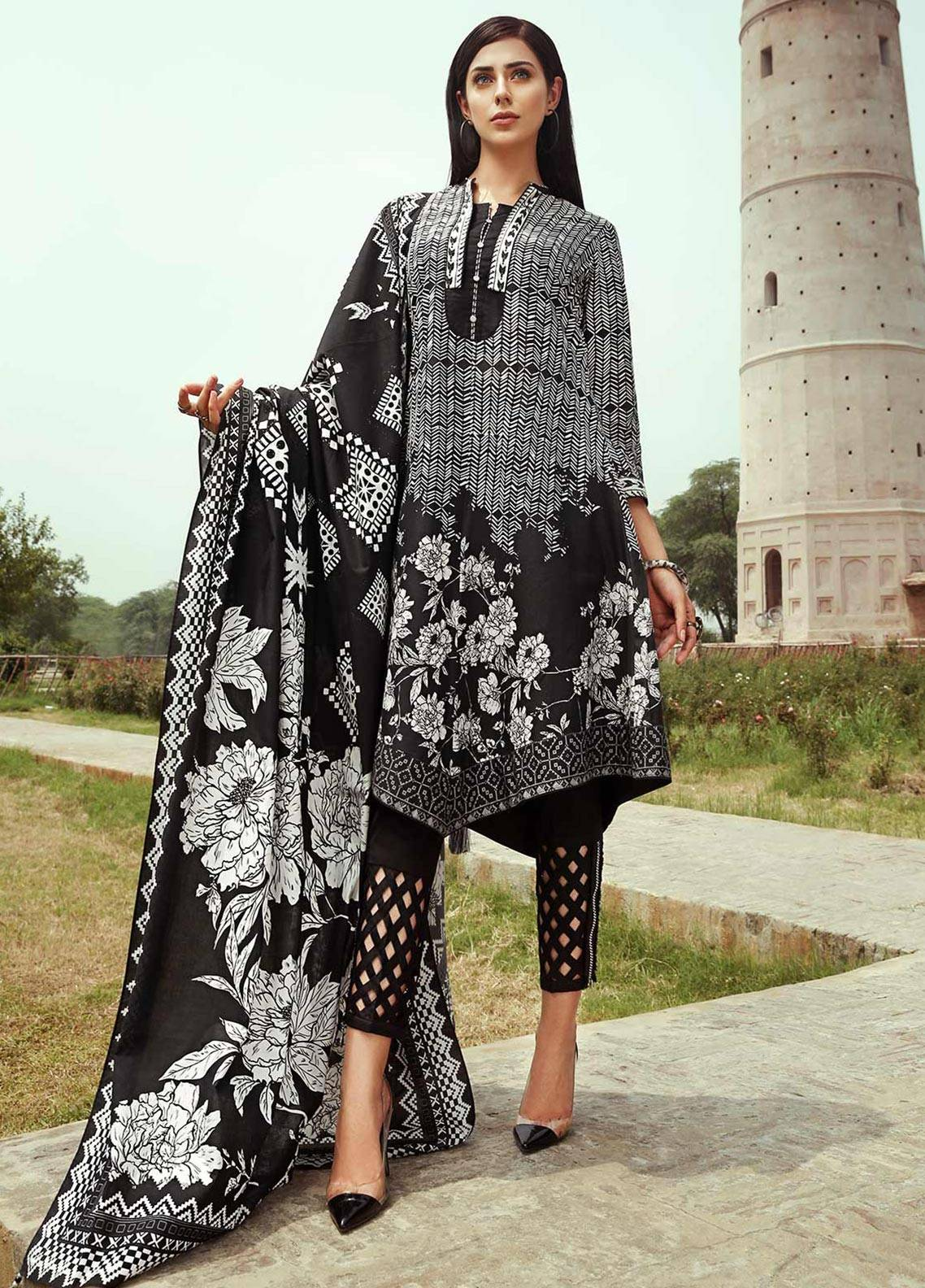 Edenrobe Printed Cambric Unstitched 2 Piece Suit 019395 - Black & White Collection