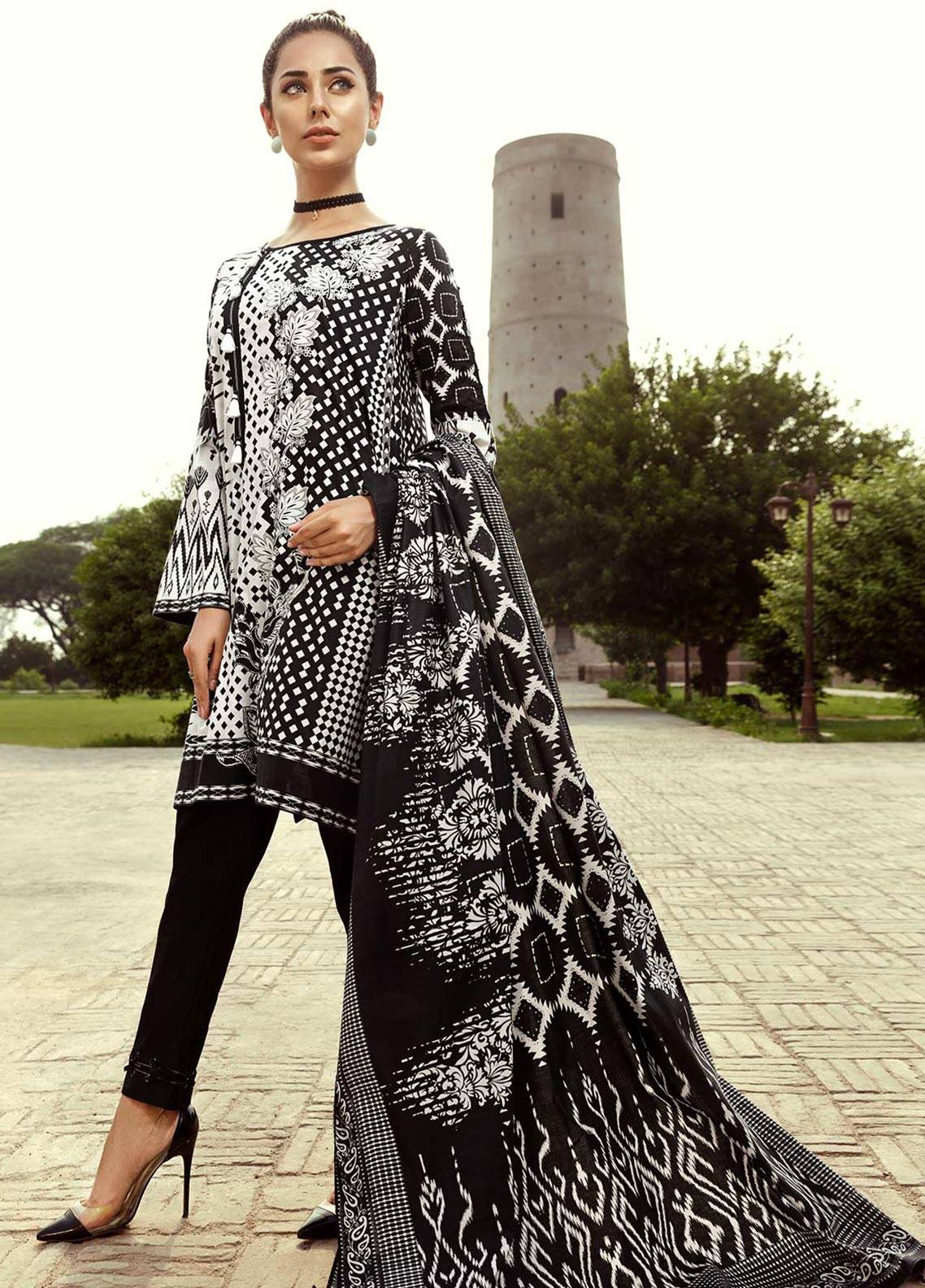 Edenrobe Printed Cambric Unstitched 2 Piece Suit 019399 - Black & White Collection