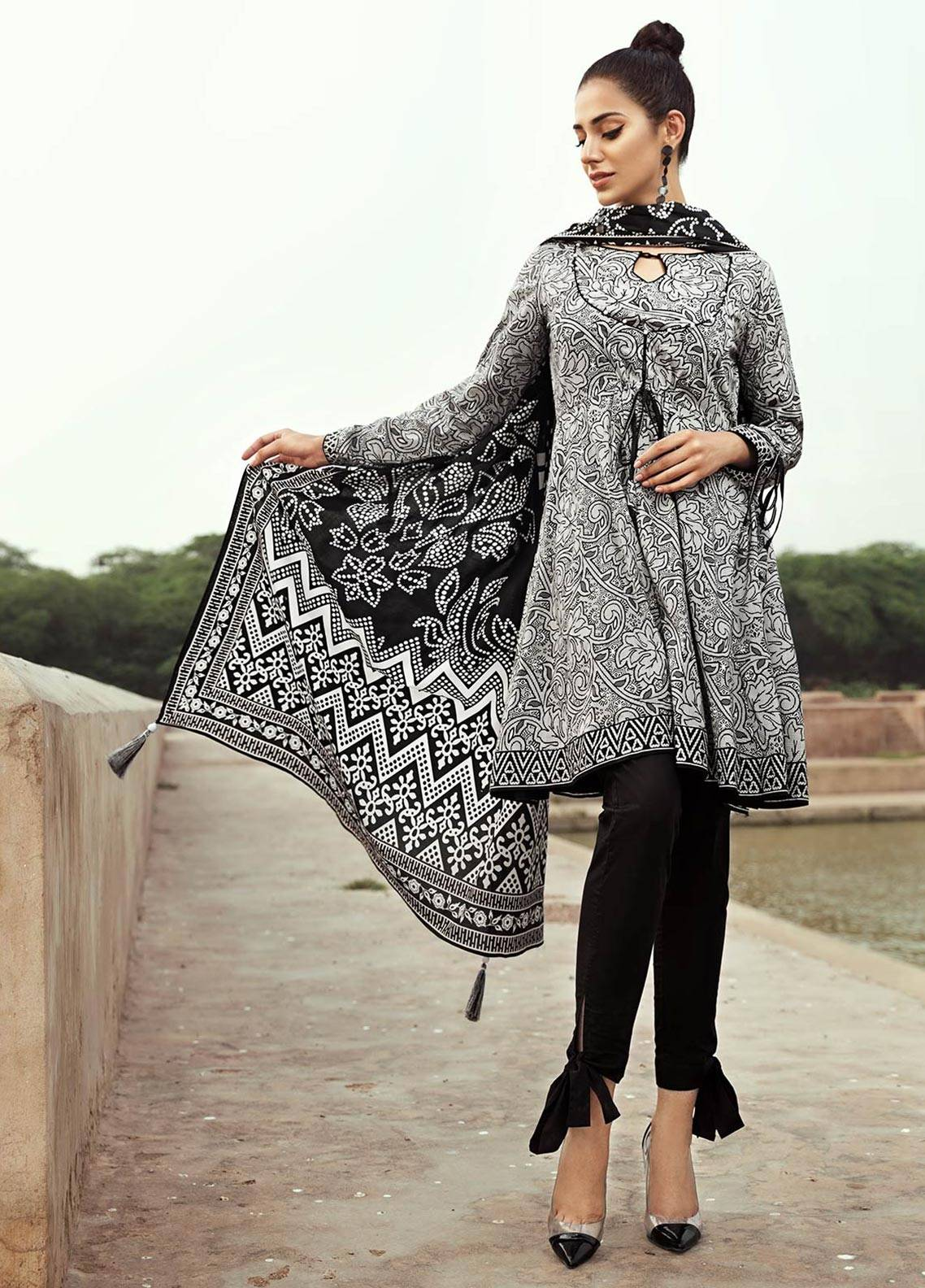 Edenrobe Printed Cambric Unstitched 2 Piece Suit 019402 - Black & White Collection