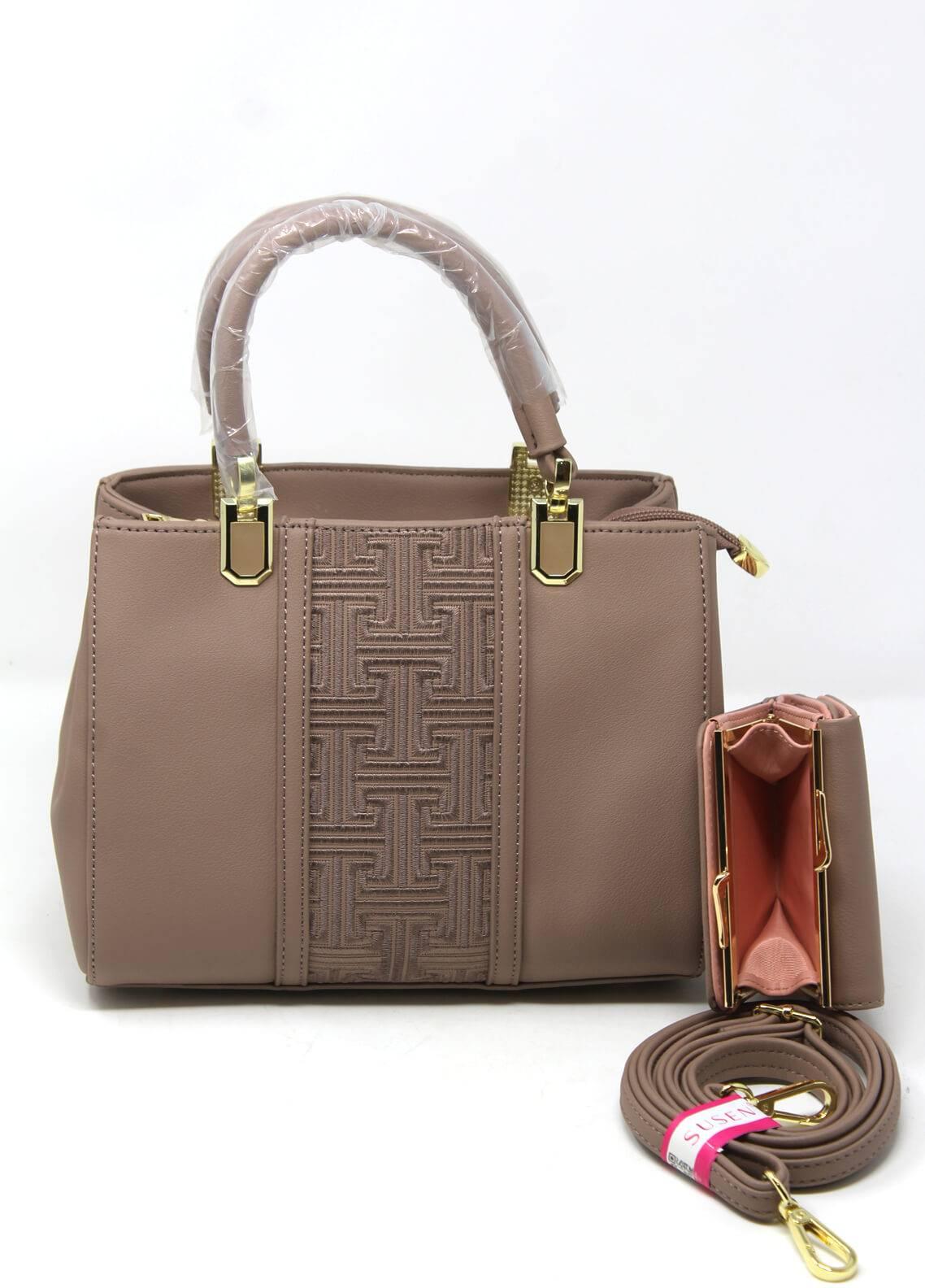 Susen PU Leather Satchels Bag for Women - Beige with Plain Texture