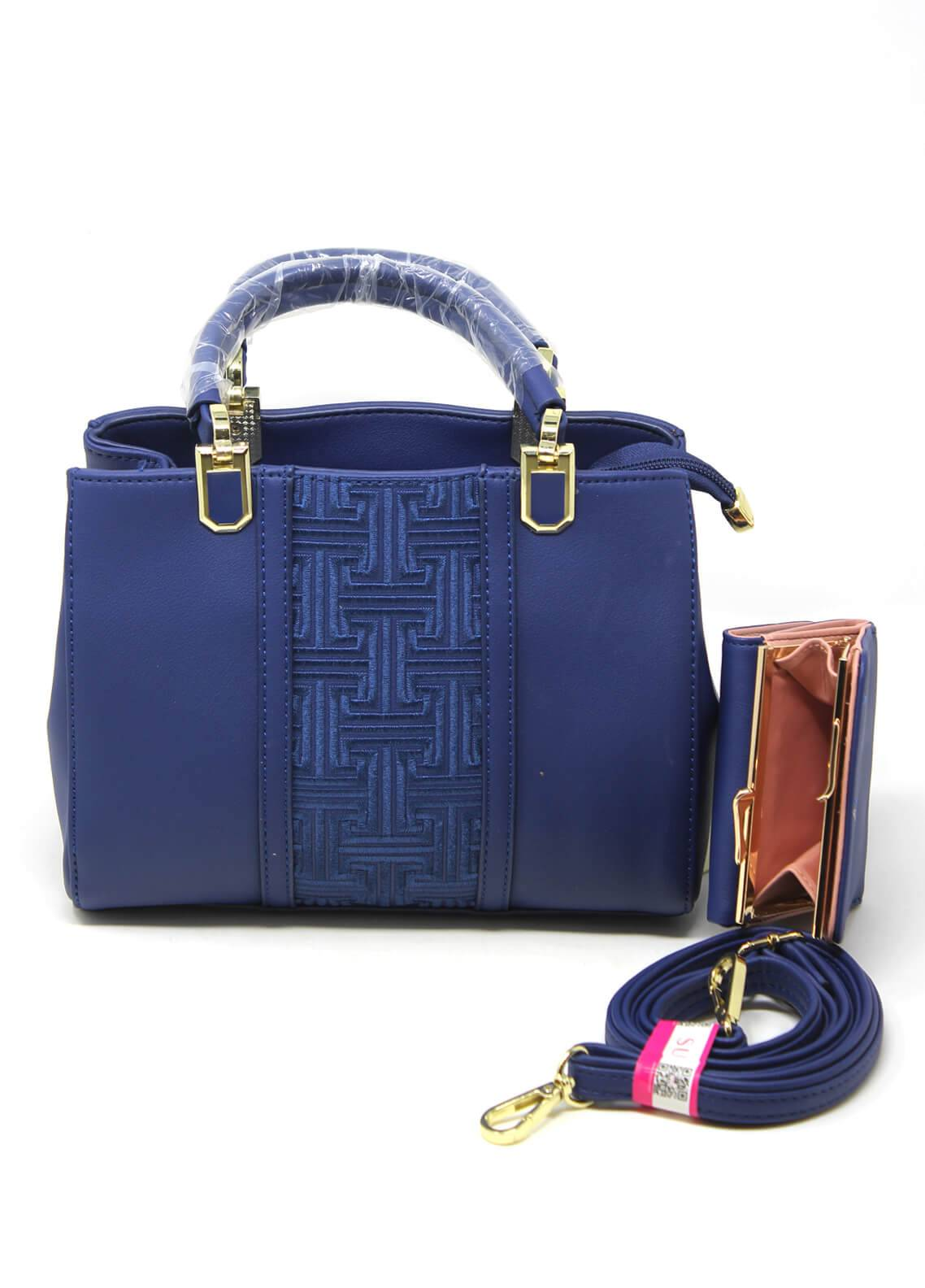 Susen PU Leather Satchels Bag for Women - Royal Blue with Plain Texture