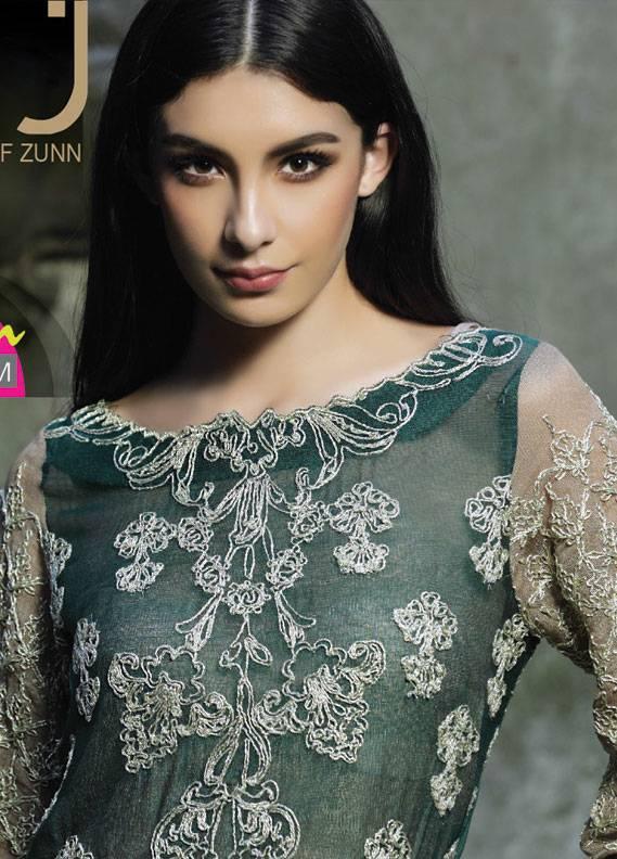 ZUNUJ Embroidered Cotton Net Unstitched 3 Piece Suit ZJ18C 03