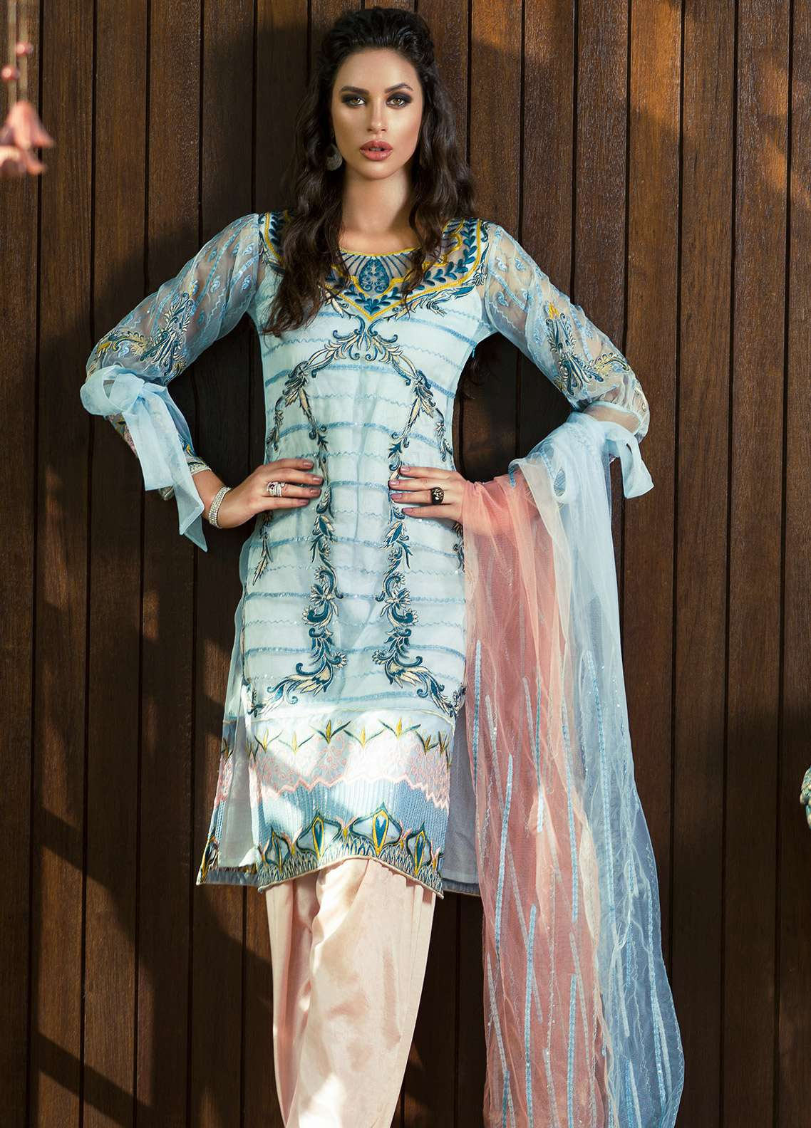 Aamna Aqeel Embroidered Silk Unstitched 3 Piece Suit AA18S 02 - Festive Collection