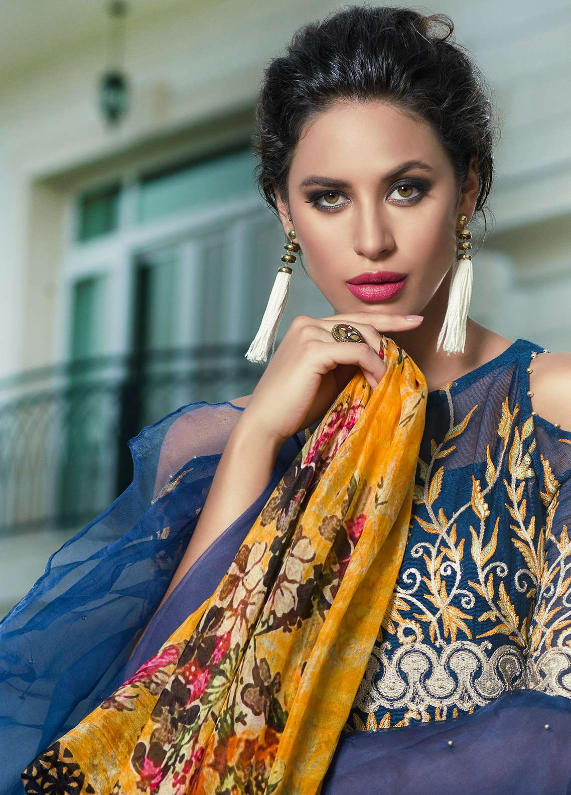 Aamna Aqeel Embroidered Silk Unstitched 3 Piece Suit AA18S 04 - Festive Collection