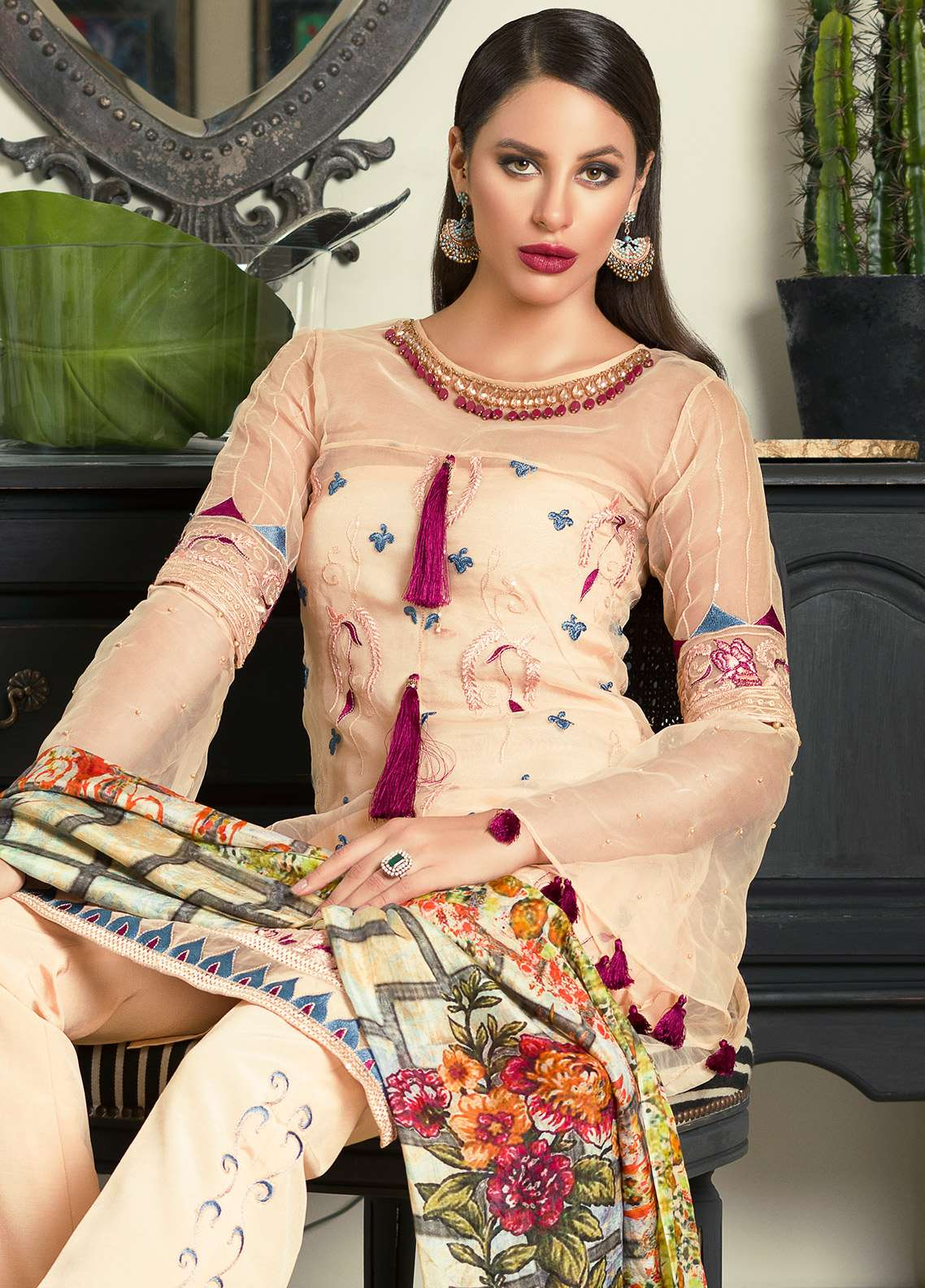 Aamna Aqeel Embroidered Silk Unstitched 3 Piece Suit AA18S 07 - Festive Collection