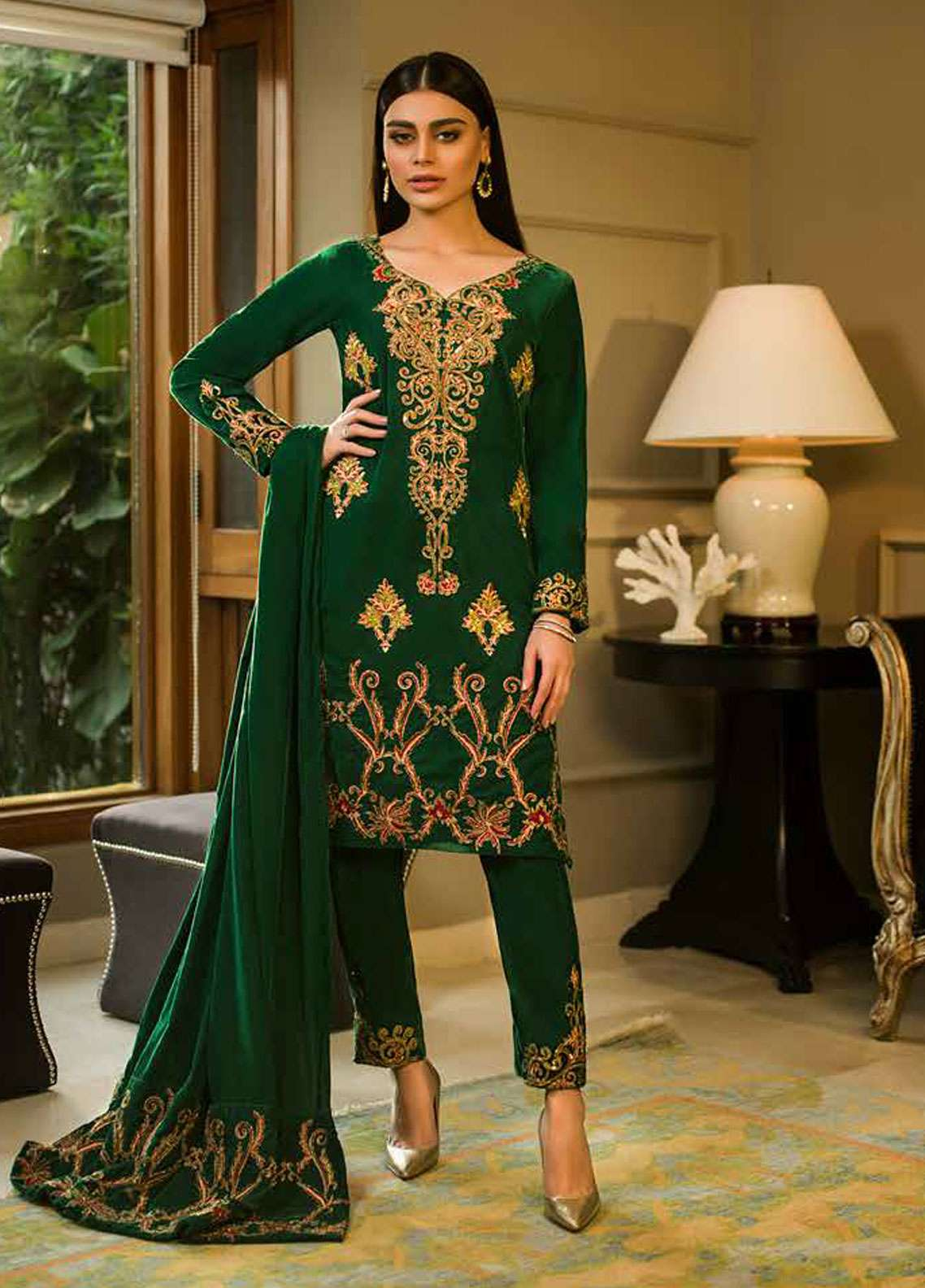 Aamna Aqeel Embroidered Velvet Unstitched 3 Piece Suit AA18V 01 Emerald Euphoria - A Velvet Romance
