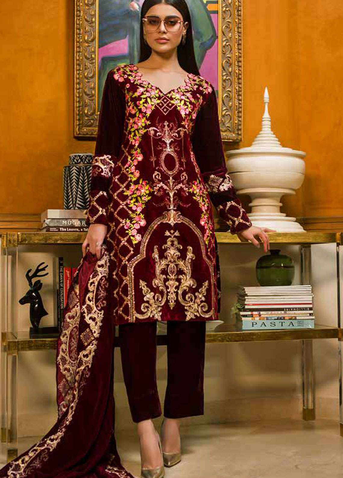 Aamna Aqeel Embroidered Velvet Unstitched 3 Piece Suit AA18V 06 Mystic Mahogany - A Velvet Romance