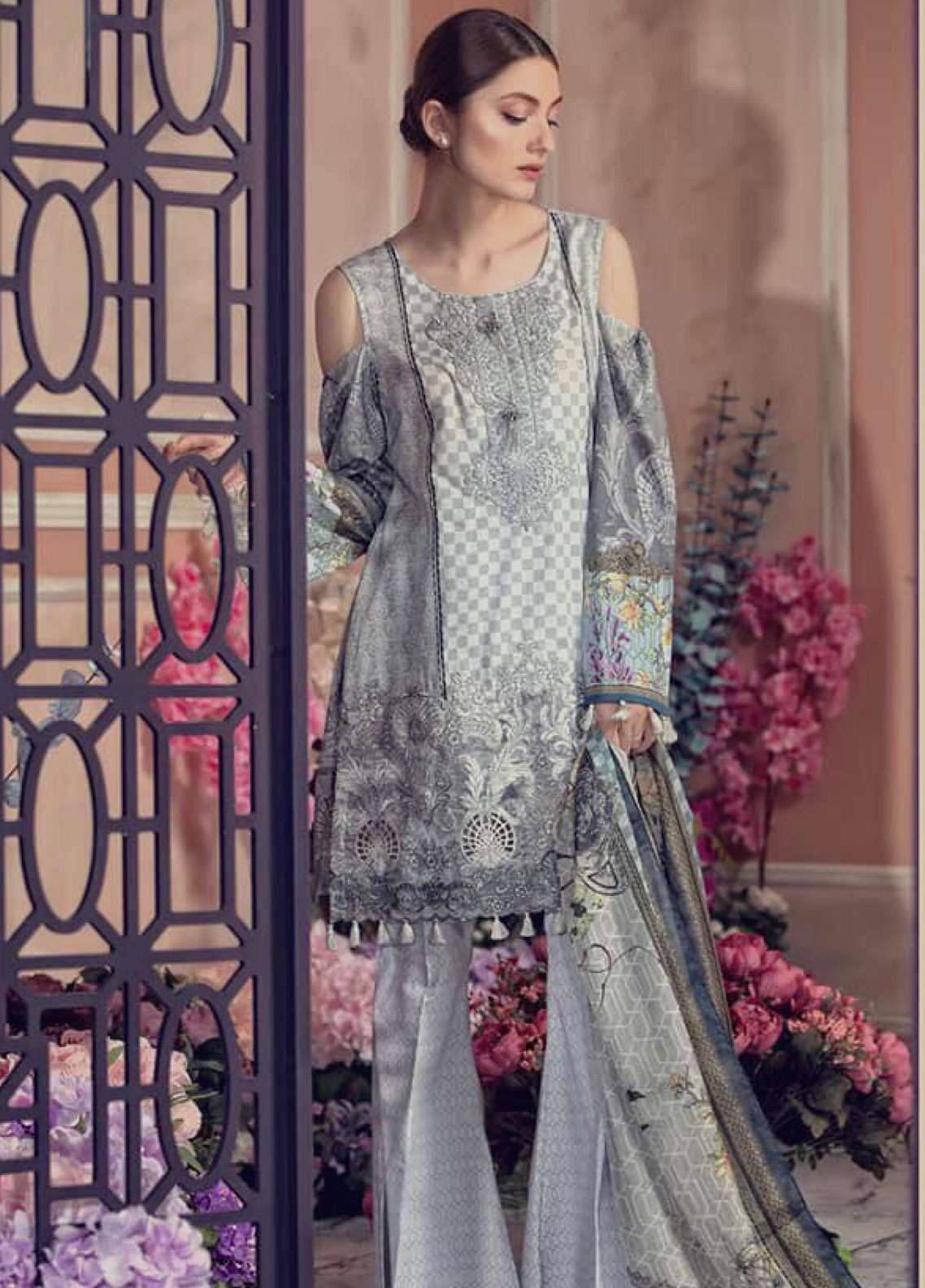 Aayra Embroidered Lawn Unstitched 3 Piece Suit AY19L 01B - Spring / Summer Collection