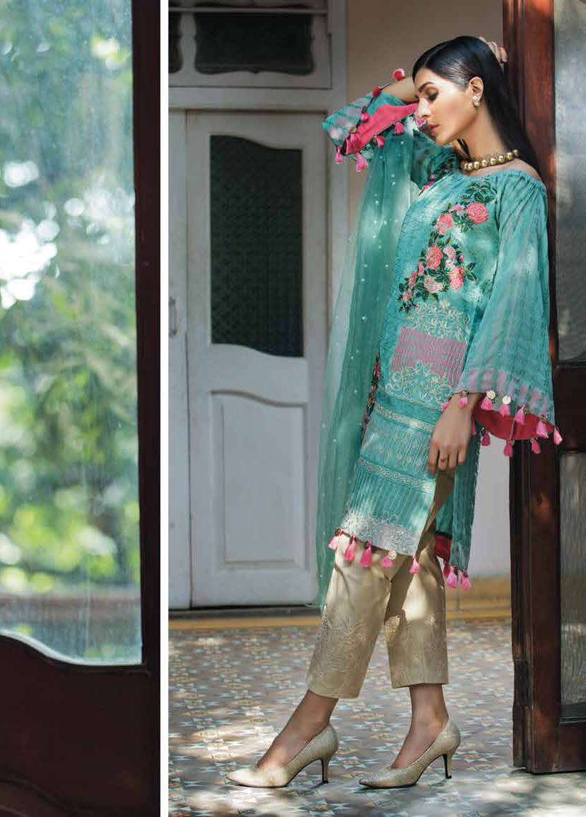 Arisha Chowdary BY ZS Embroidered Silk Unstitched 2 Piece Suit AC17S 03