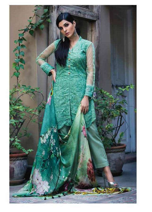 Arisha Chowdary BY ZS Embroidered Silk Unstitched 2 Piece Suit AC17S 07