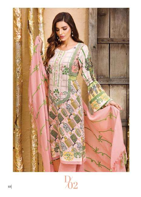 Adamjee Embroidered Cotton Satin Unstitched 3 Piece Suit AD17W 02