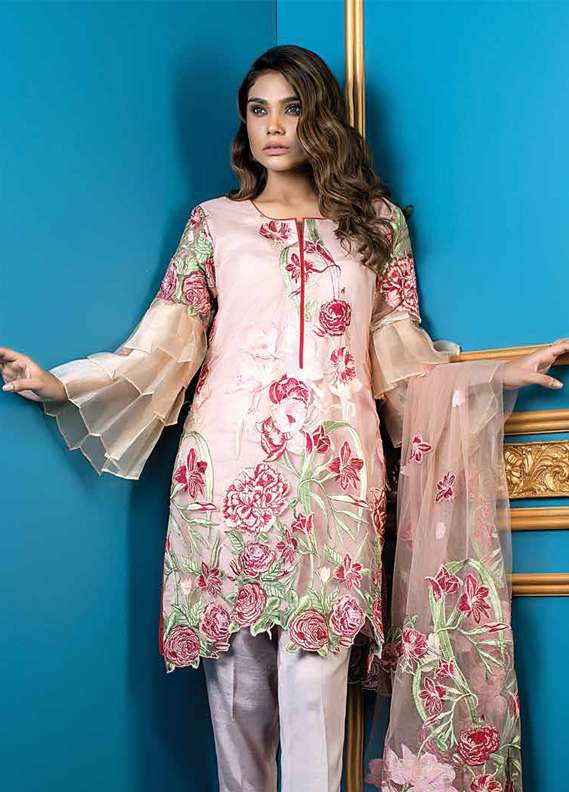 Al Dawood Textile Embroidered Organza Unstitched 3 Piece Suit AD18L 01 - Summer Collection