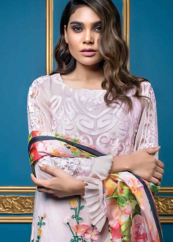 Al Dawood Textile Embroidered Chiffon Unstitched 3 Piece Suit AD18L 06 - Summer Collection