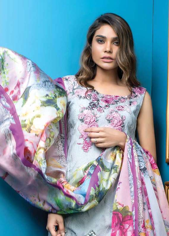Al Dawood Textile Embroidered Crape Unstitched 3 Piece Suit AD18L 07 - Summer Collection