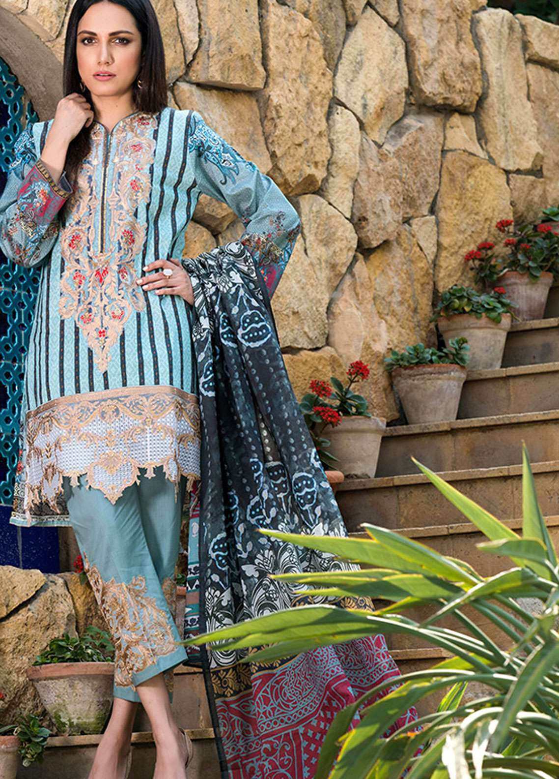 Adamjee Embroidered Lawn Unstitched 3 Piece Suit AD19L 04 - Spring / Summer Collection