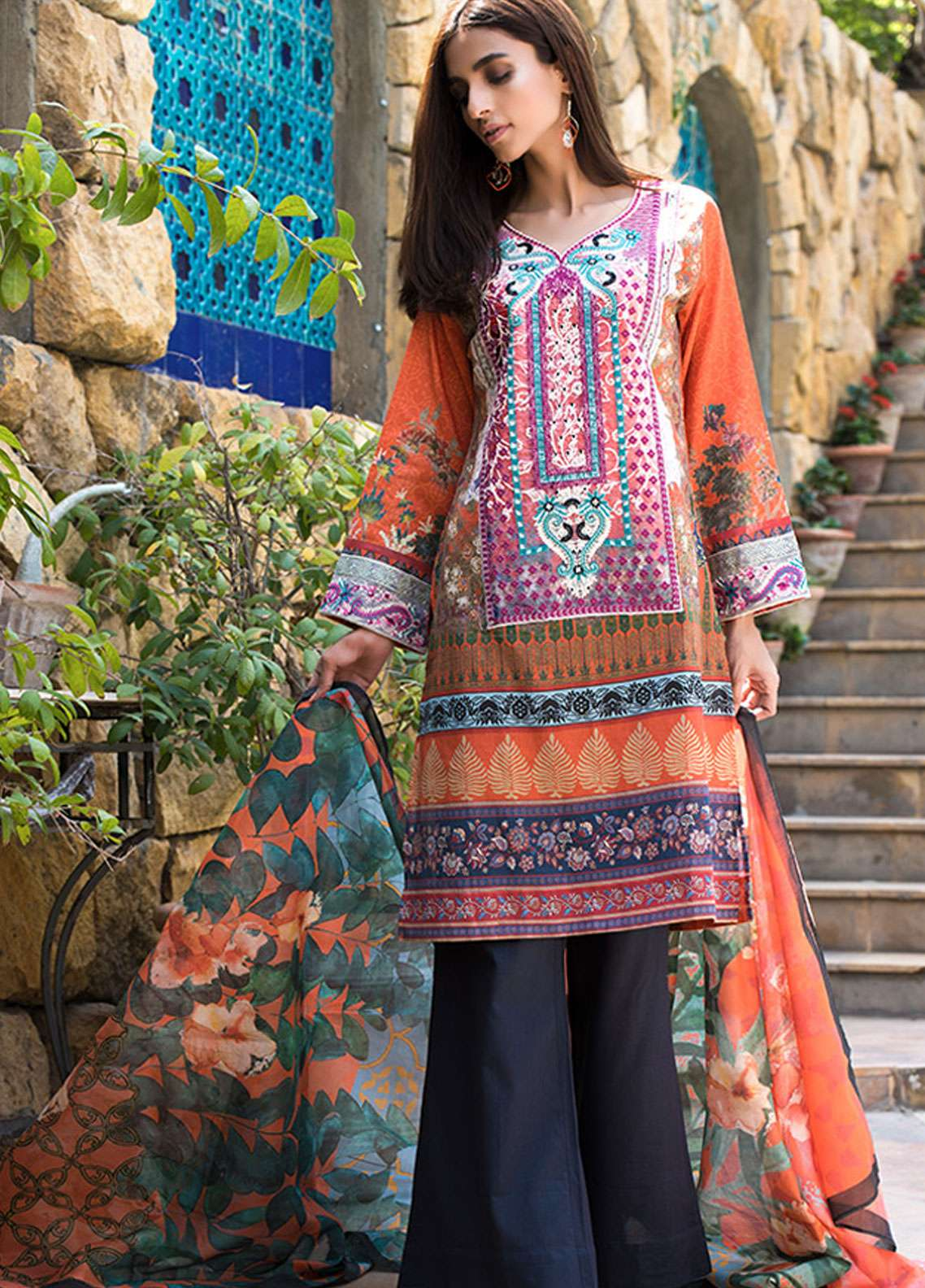 Adamjee Embroidered Lawn Unstitched 3 Piece Suit AD19L 08 - Spring / Summer Collection