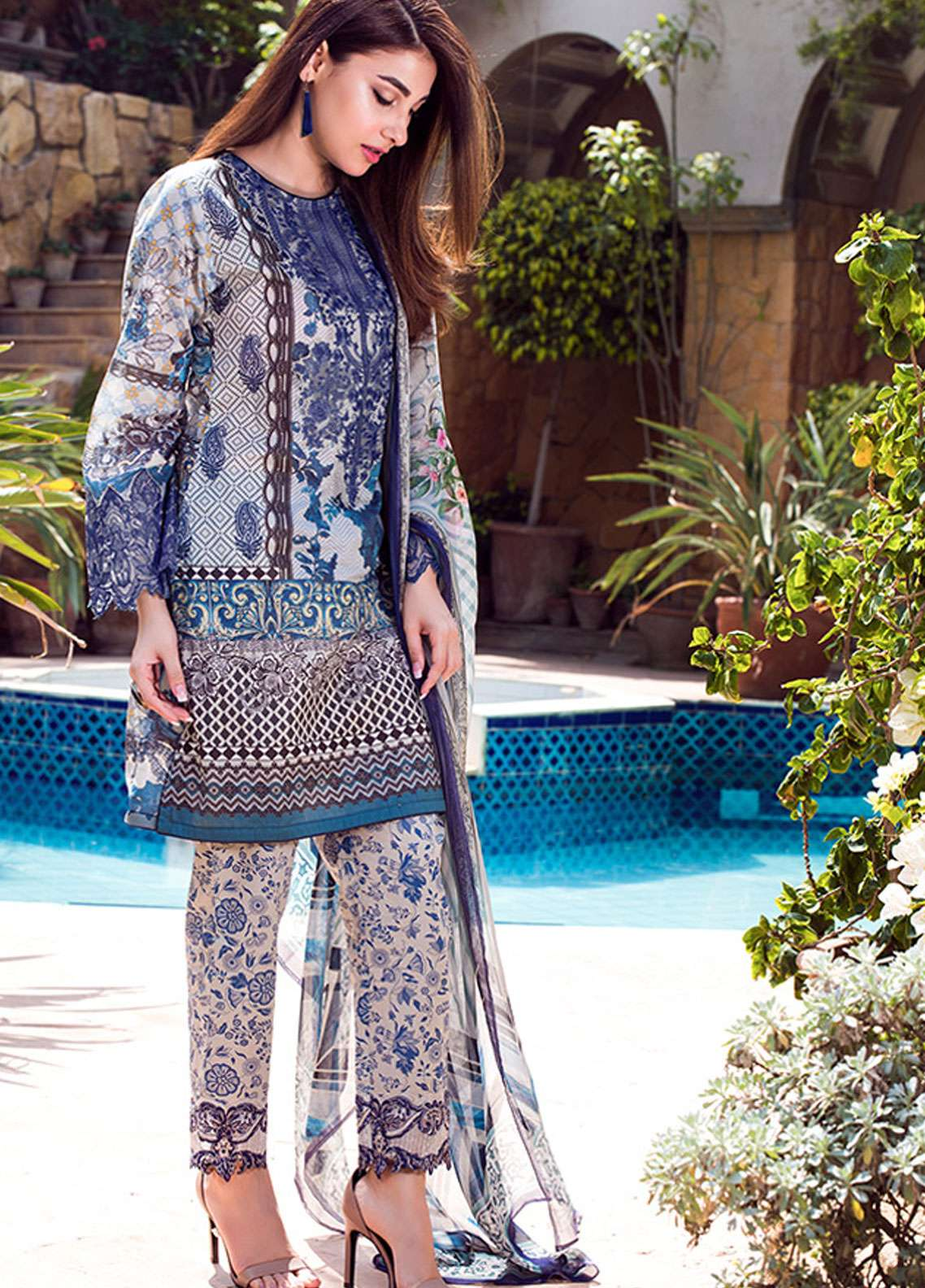 Adamjee Embroidered Lawn Unstitched 3 Piece Suit AD19L 09 - Spring / Summer Collection