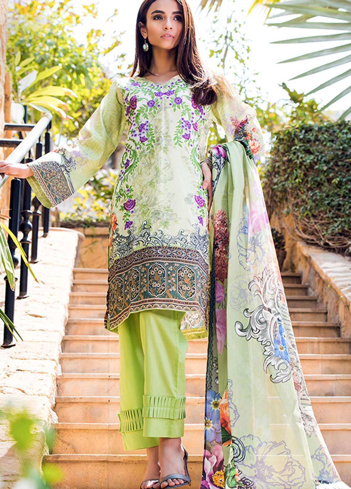 Adamjee Embroidered Lawn Unstitched 3 Piece Suit AD19L 10 - Spring / Summer Collection