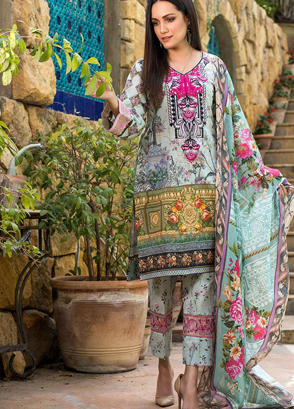 Adamjee Embroidered Lawn Unstitched 3 Piece Suit AD19L 13 - Spring / Summer Collection