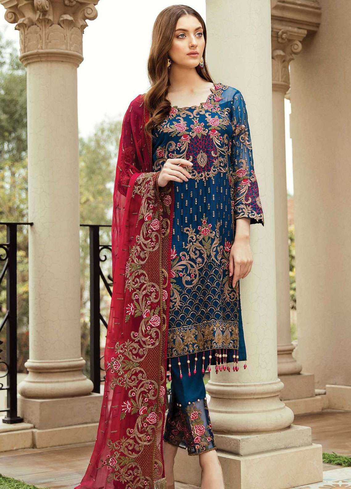 9d0a0db86d Afrozeh Embroidered Chiffon Unstitched 3 Piece Suit AF19C 02 PRUSSIAN VINES  - Luxury Collection