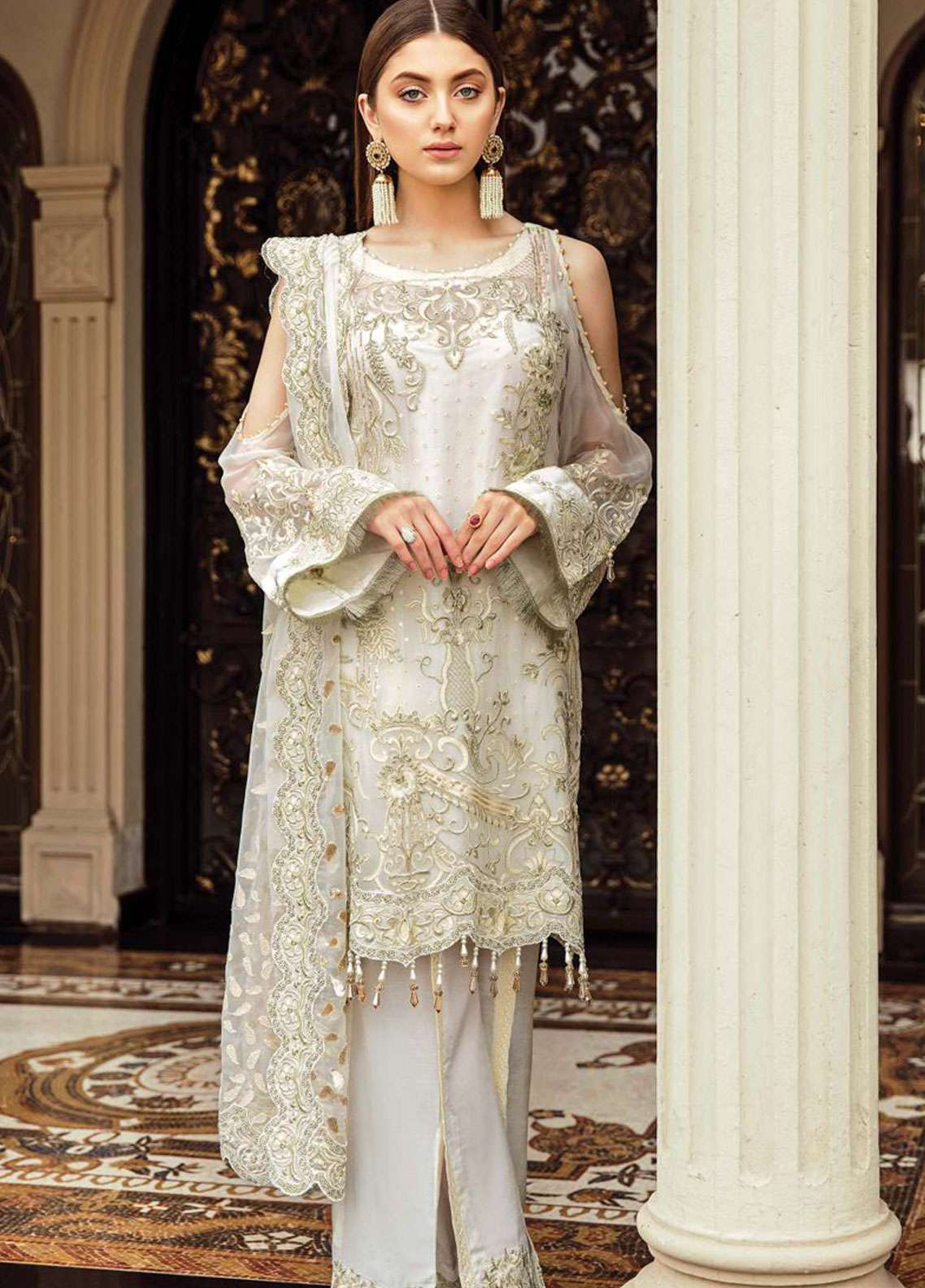 1f0a29cdd6 Afrozeh Embroidered Chiffon Unstitched 3 Piece Suit AF19C 03 OCEAN PEARL - Luxury  Collection