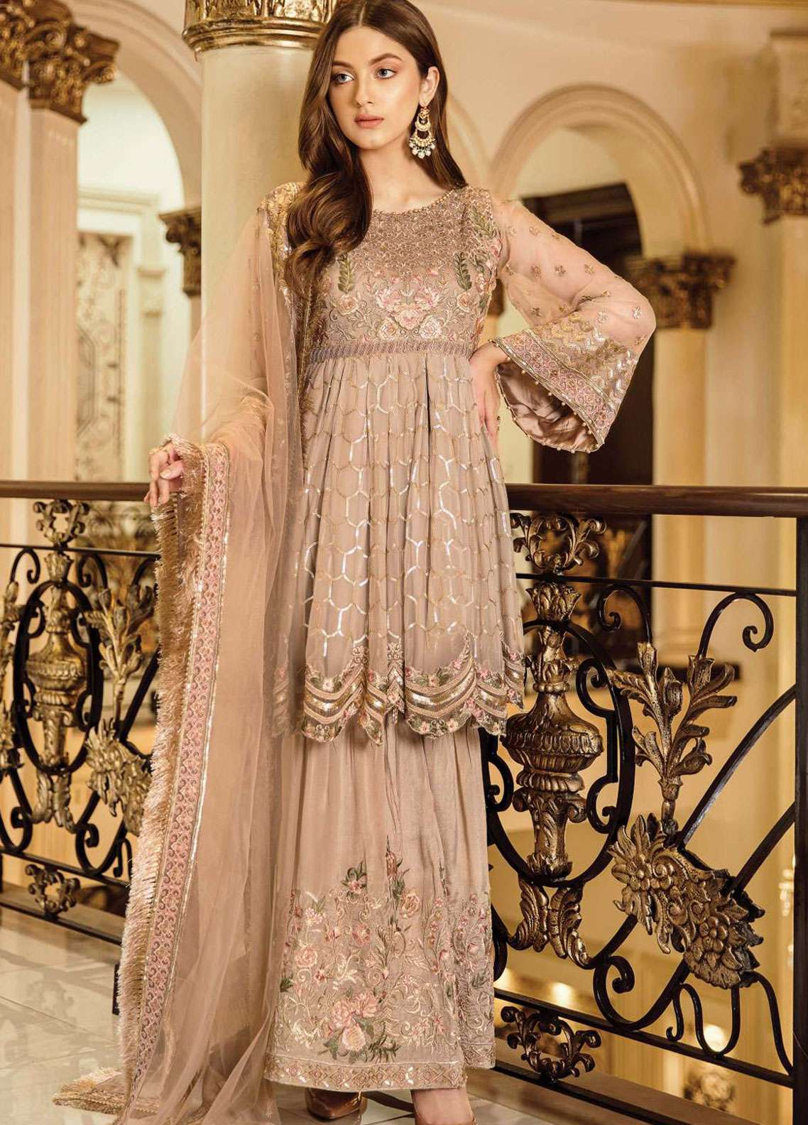 0313fa4032 Afrozeh Embroidered Chiffon Unstitched 3 Piece Suit AF19C 05 RUSTIC GOLD - Luxury  Collection