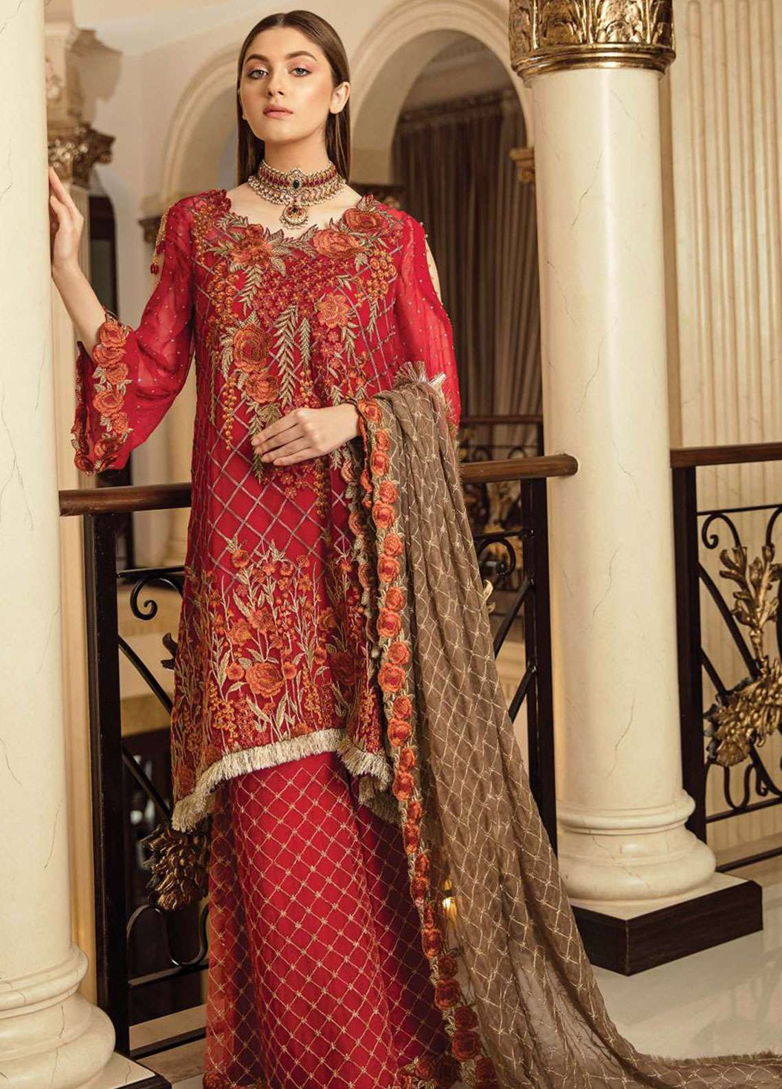 d4a6252db9 Afrozeh Embroidered Chiffon Unstitched 3 Piece Suit AF19C 08 CARNELIAN  CRINKLE - Luxury Collection