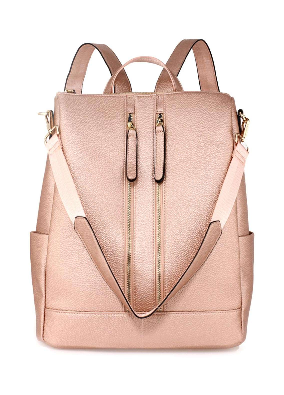 Anna Grace London Smooth Backpack Bags  for Women  Champagne with Grainy Texture