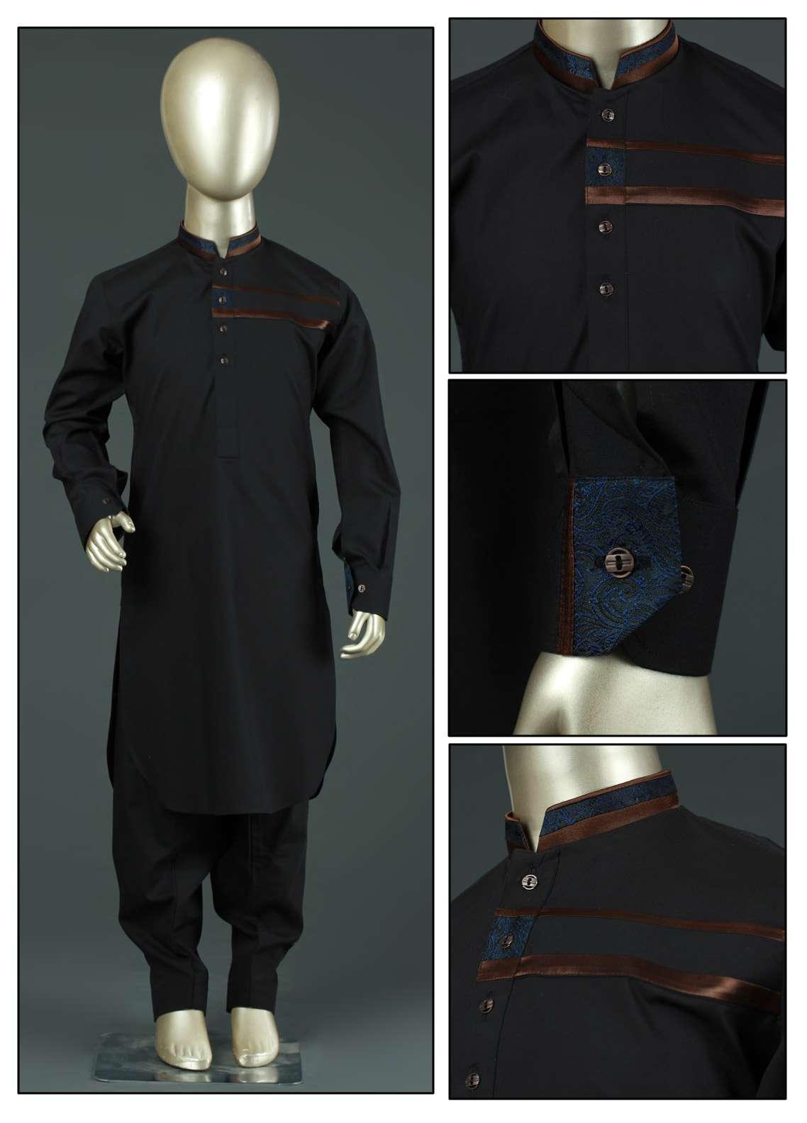 Aizaz Zafar Cotton Formal Kameez Shalwar for Boys - AZ19B 214 Black