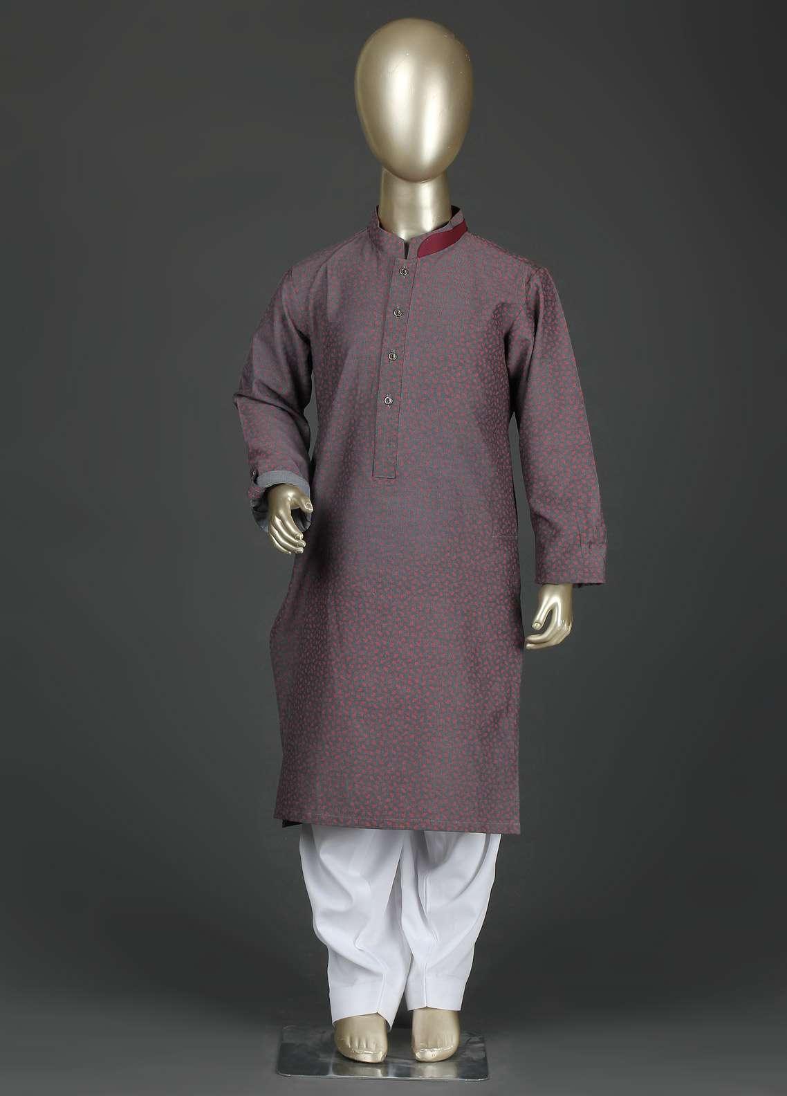 Aizaz Zafar Cotton Formal Kurta Shalwar for Boys - AZ19B 220 Grey