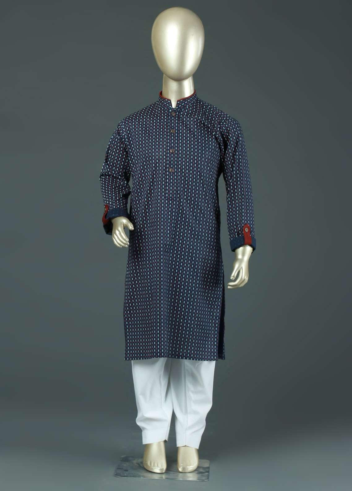Aizaz Zafar Cotton Formal Boys Kurtas -  AZ19B 220 Navy Blue