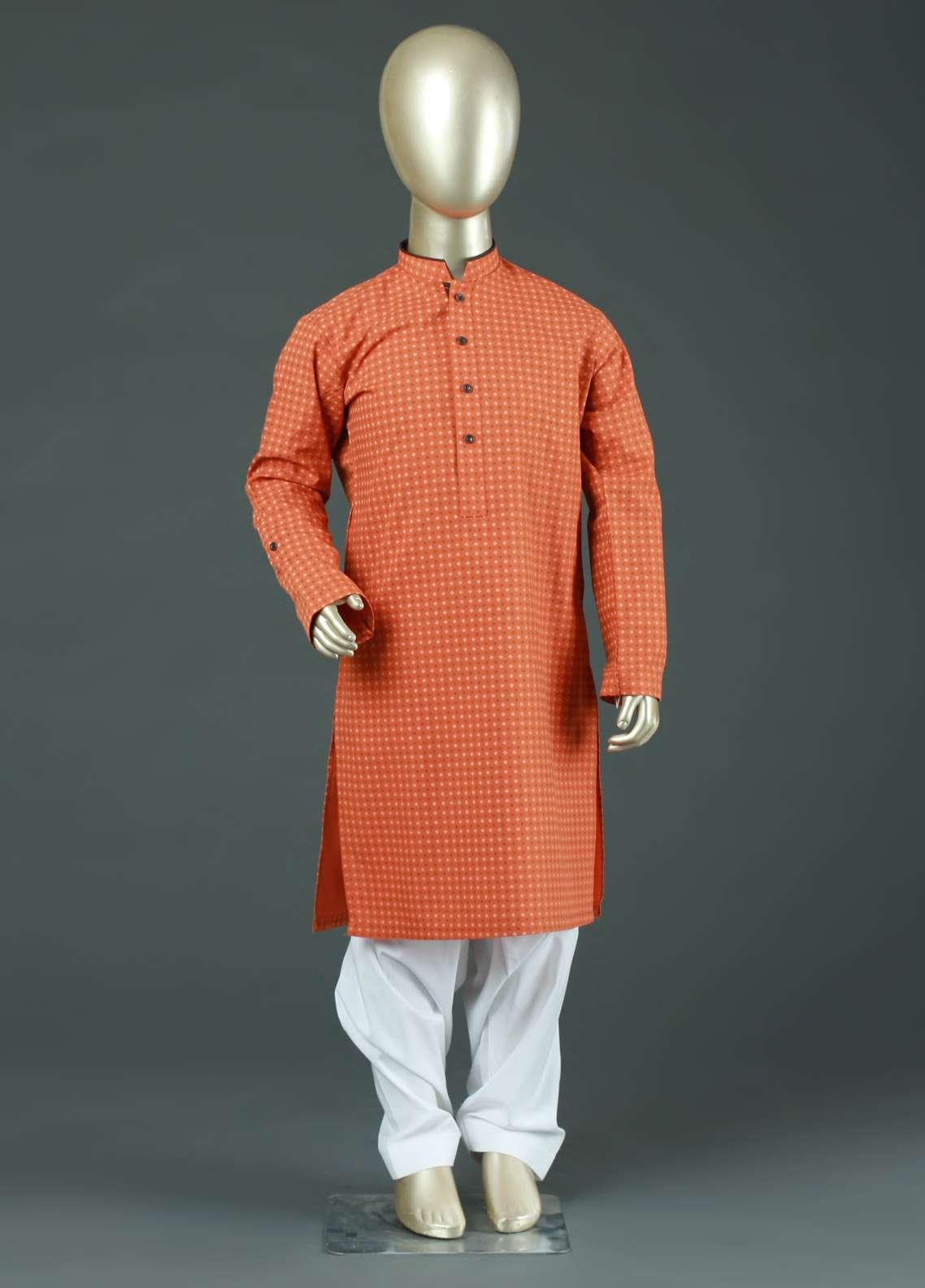 Aizaz Zafar Cotton Formal Kurtas for Boys -  AZ19B 220 Orange