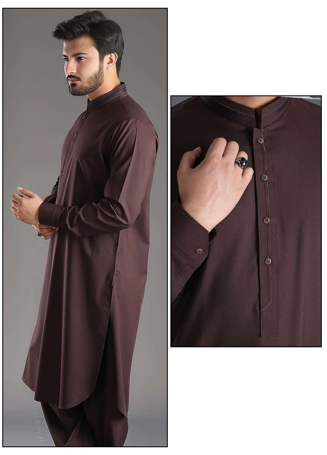 Aizaz Zafar Wash N Wear Plain Texture Shalwar Kameez for Men - Maroon AZ18M 024