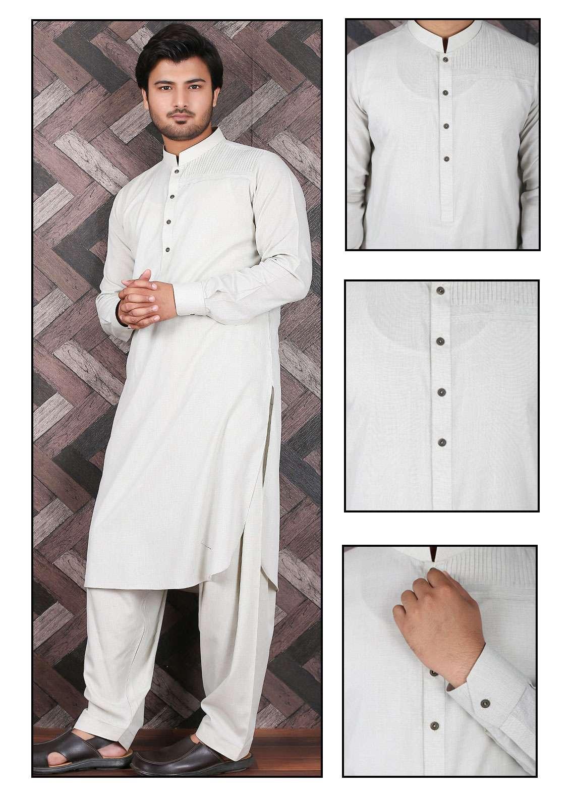 Aizaz Zafar Wash N Wear Formal Shalwar Kameez for Men -  685 Fawn