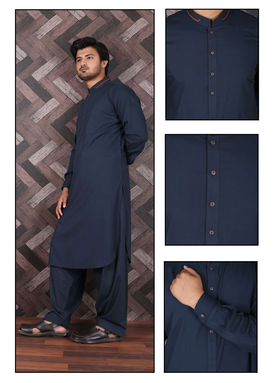 Aizaz Zafar Wash N Wear Formal Men Shalwar Kameez -  685 Navy Blue