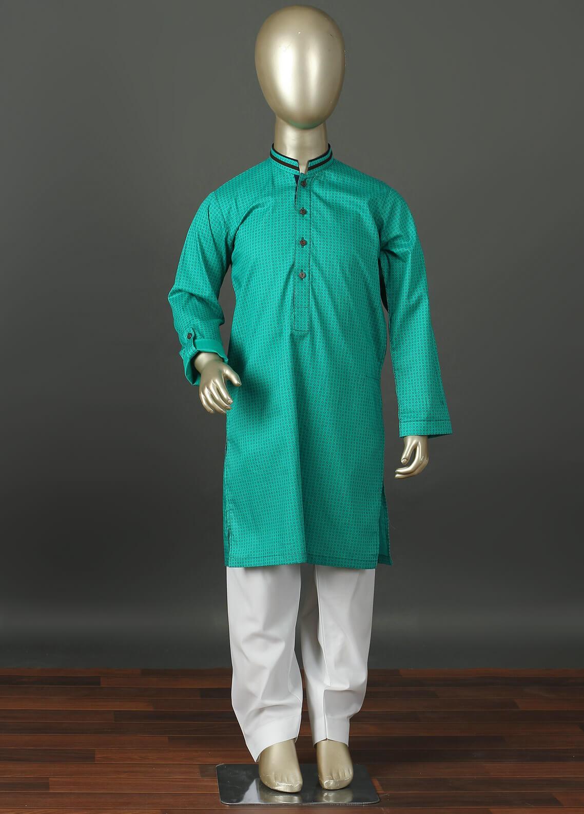 Aizaz Zafar Cotton Formal Boys Kurta Shalwar -  220 Green