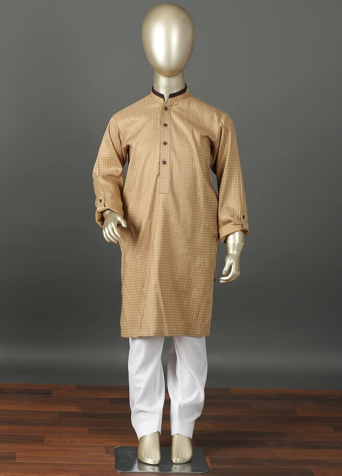 Aizaz Zafar Cotton Formal Kurta Shalwar for Boys -  220 Khaki