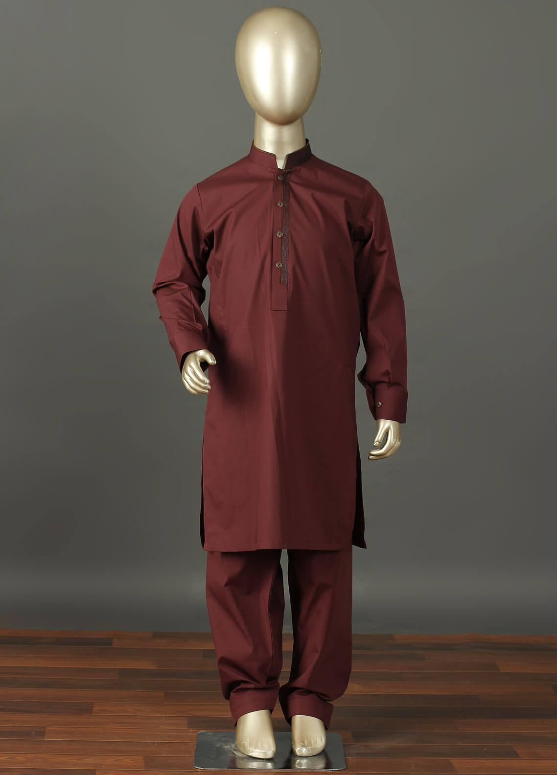 Aizaz Zafar Cotton Formal Boys Kameez Shalwar -  229 Maroon