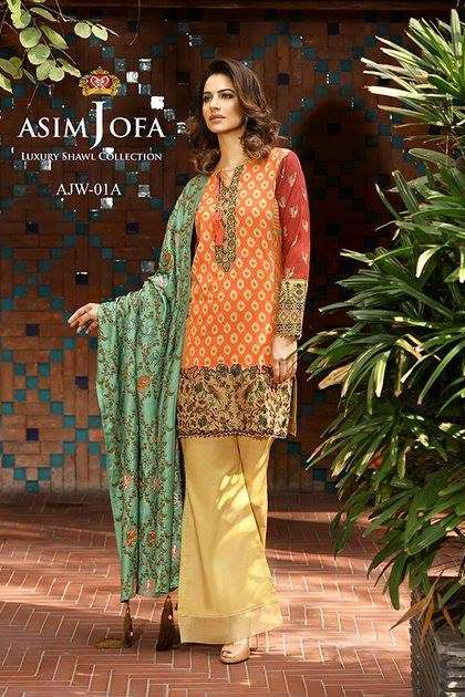 Asim Jofa Embroidered Linen Unstitched 3 Piece Suit AJ16W 1A