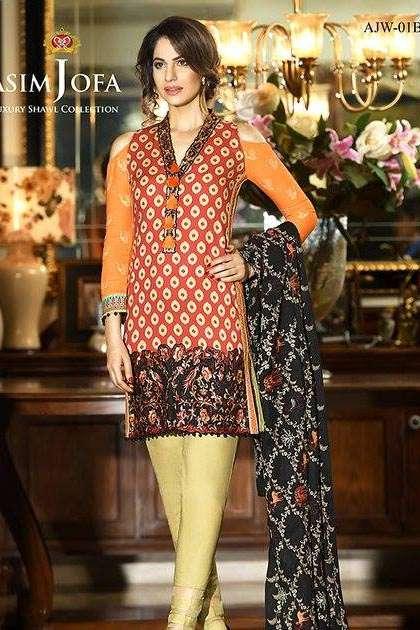 Asim Jofa Embroidered Linen Unstitched 3 Piece Suit AJ16W 1B