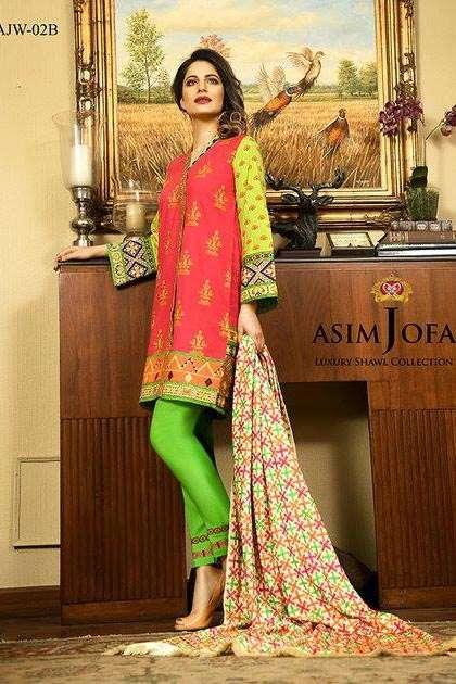 Asim Jofa Embroidered Linen Unstitched 3 Piece Suit AJ16W 2B