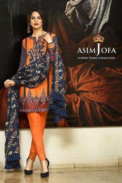 Asim Jofa Embroidered Linen Unstitched 3 Piece Suit AJ16W 4B