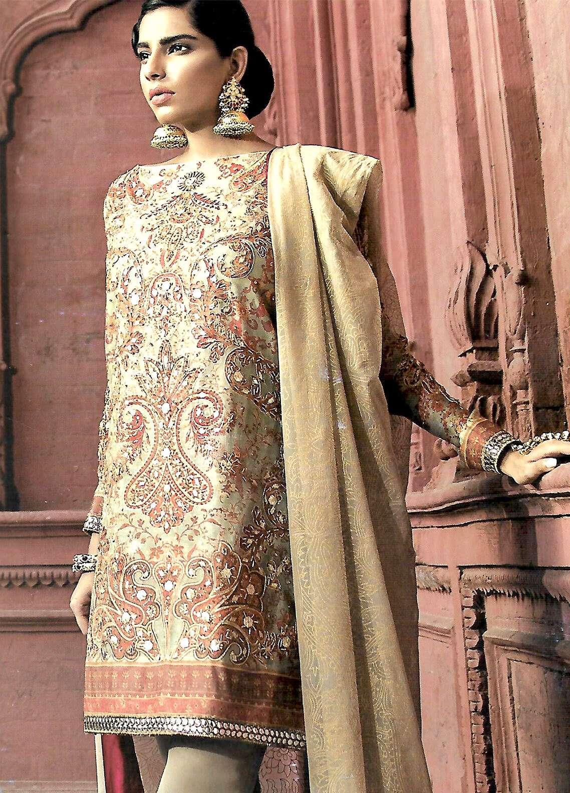 Al Karam Embroidered Silk Net Unstitched 3 Piece Suit AK18F 05 - Festive Collection