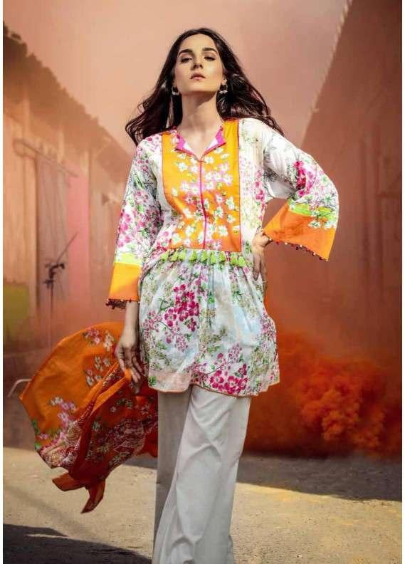 25974bae33 Al Karam Printed Lawn Unstitched 2 Piece Suit AK18L SS-72 ORANGE - Spring    Summer Collection