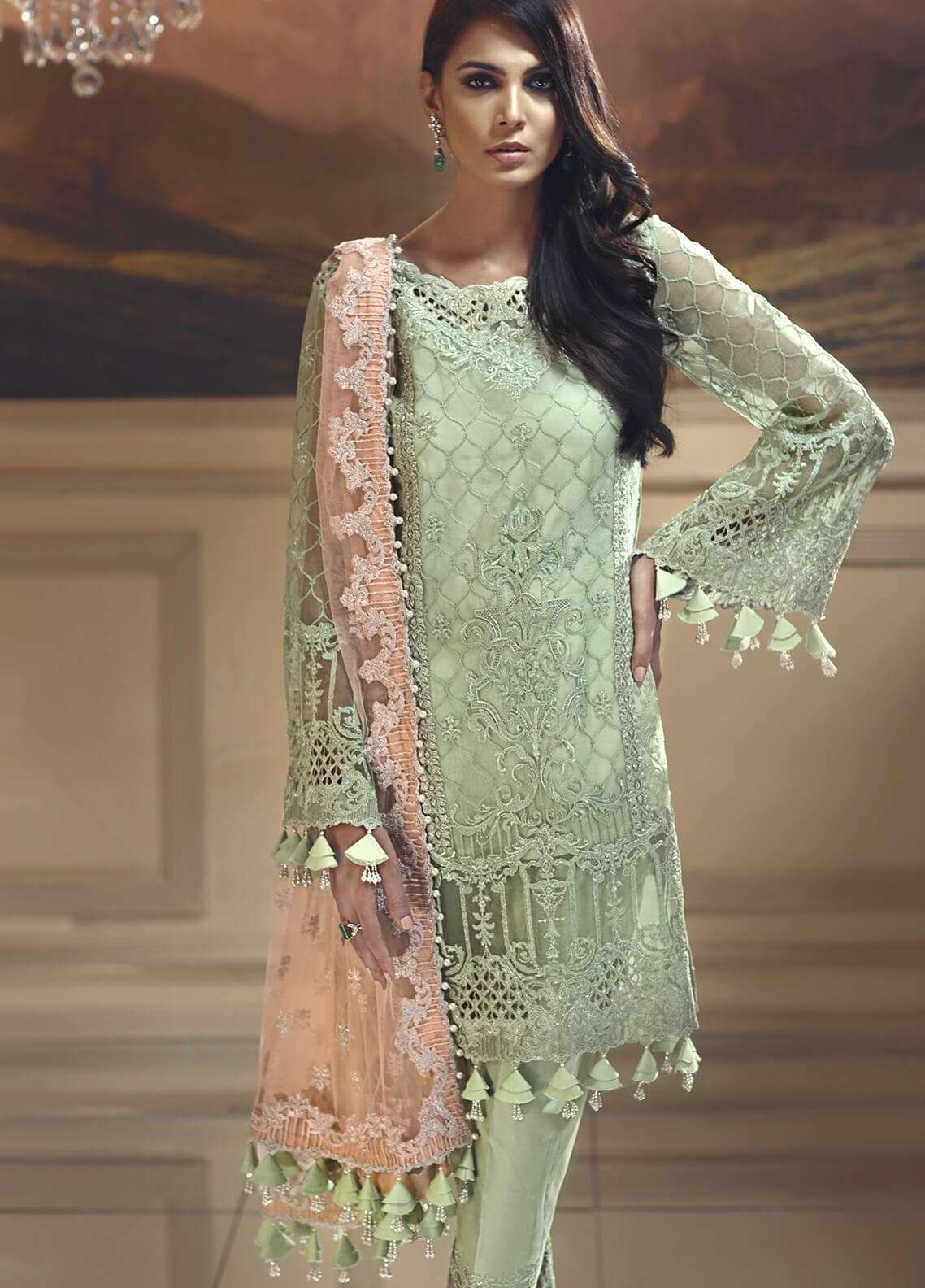 Anaya by Kiran Chaudhry Embroidered Organza Unstitched 3 Piece Suit AKC18W 05 - Wedding Edition