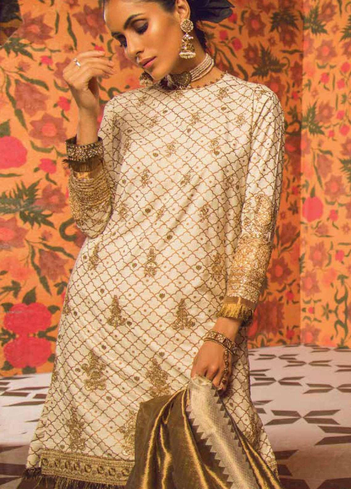 Al Karam Embroidered Cotton Silk Unstitched 3 Piece Suit AK19F 10E - Festive Collection